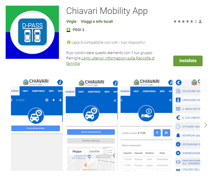 Chiavari Mobility App, una app dedicata a Chiavari su piattaforma D-PASS